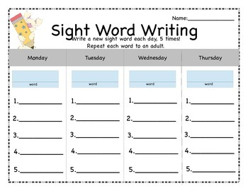 Sight Word a Day Writing