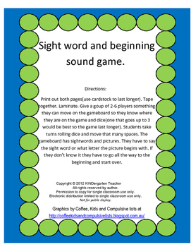 Sight Word and Beginning Sound game board