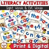 Sight Word and CVC Word Literacy Center Activities