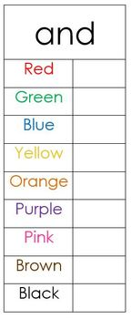 Sight Word and Color Word Practice