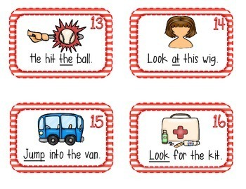 Sight Word and CvC Sentence SCOOT- 60 sentence cards, 60 sight words, & 3 games!