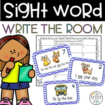 Sight Word and CvC Sentence SCOOT- 60 sentence cards, 60 s