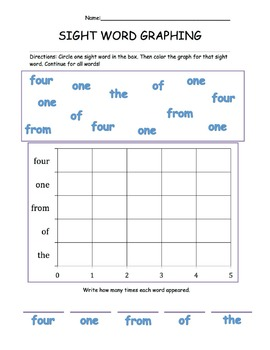 Sight Word and High Frequency Word Graphing