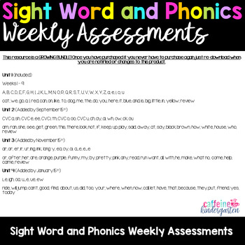 Sight Word and Phonics Weekly Assessments