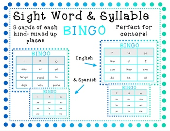 Sight Word and Syllable Bingo (English and Spanish