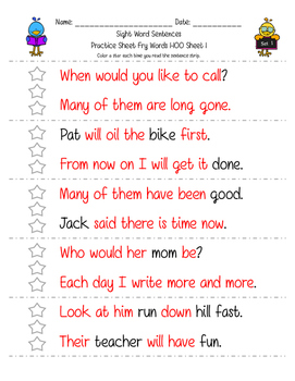 Sight Word and Word Family Sentence Strips: Fluency and Word Recognition Skills