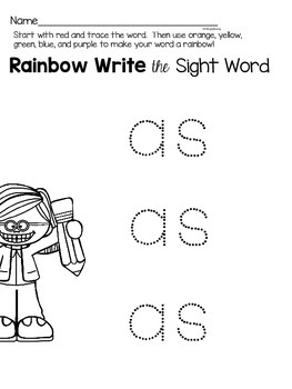 Sight Word {as} Activities