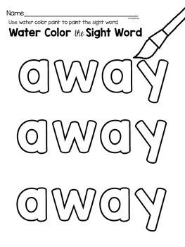 Sight Word {away} Activities