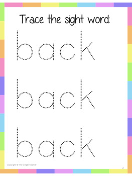 Sight Word 'back' 15 Page Workbook