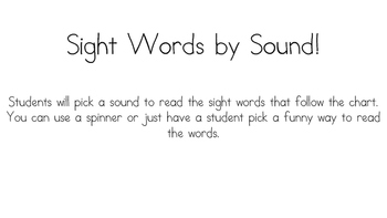 Sight Word by Sound!