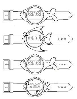 """Sight Word """"fish"""" Watches- Pre-primer"""