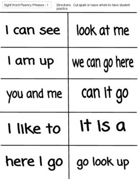Sight Word fluency phrases - Mclass List A