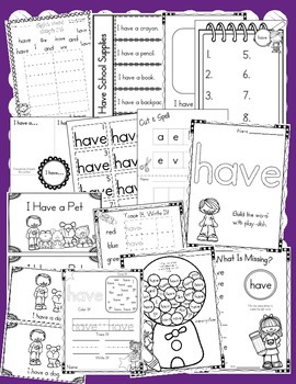Sight Word Have (13 Activities for the word HAVE) Sight Word of the Week