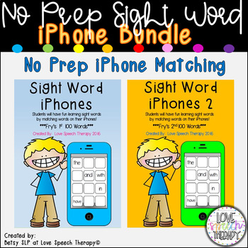 Sight Word iPhones BUNDLE - Fry's 1st 100 & 2nd 100 Words