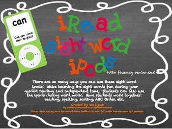 iPods~Sight Word iPods with fluency sentences~First Set~Center Fun Reinforcement
