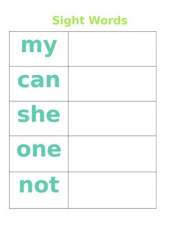 Sight Word make template- editable