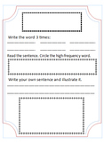 Sight Word notebook template