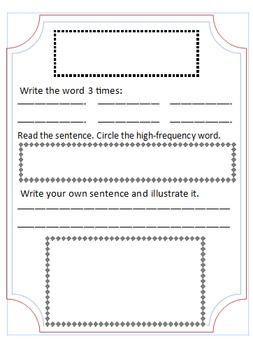 Sight Word notebook template