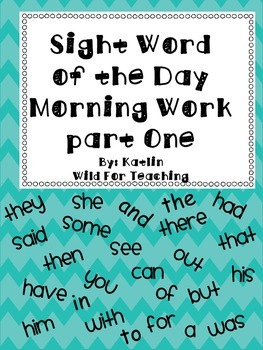 Sight Word of the Day Part One Morning Work Watches