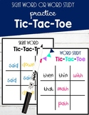 Sight Word or Word Study Practice Tic-Tac-Toe