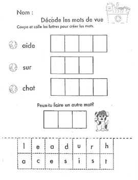 Sight Word practice French