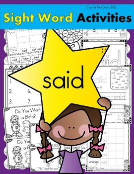 Sight Word of the Week (13 Activities for the word SAID)