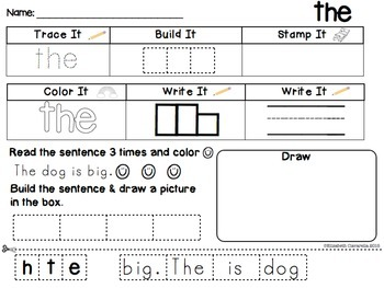 "Sight Word ""the""  Freebie Stamp it, build it, color it, read the sentence"