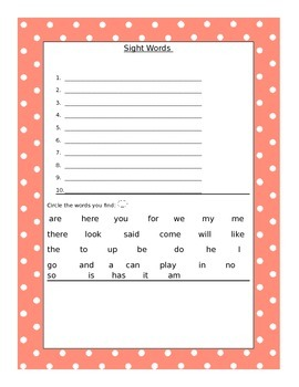 Sight Word/Write the Room Literacy Station