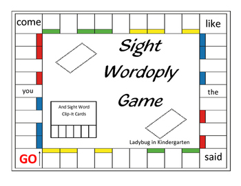 Sight Wordoply Game and Clip-It Cards