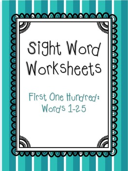 Sight Words 1-25 Worksheets Packet and Flashcards