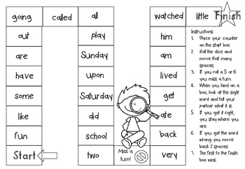 Sight Words 1 to 100 Board Games