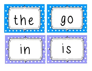 Sight Words Cards, with checklist