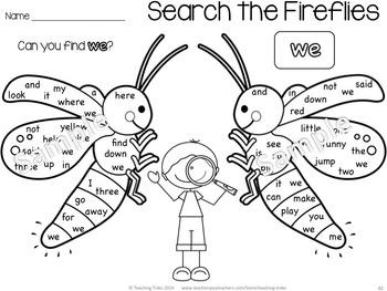 Sight Words Kindergarten Activities: Bugs