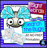 Sight Words Worksheets: Bugs and Insects Kindergarten