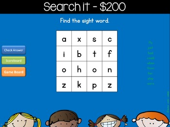 Sight Words Jeopardy Style Game Show