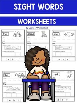 Kindergarten Sight Word Practice Sheets {60 Sight Words}