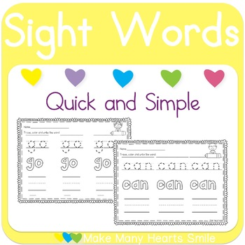 Sight Words Trace and Color