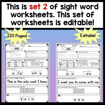 Sight Word Worksheets {220 Pages!} Sight Word Practice Pages