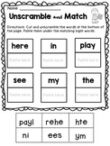 FREE Kindergarten Sight words