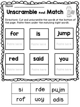 FREE Kindergarten Sight words