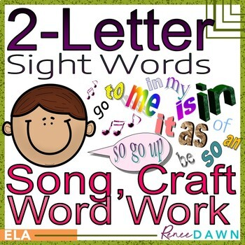 Sight Words Craft, Song, Printables for 2-Letter Sight Words