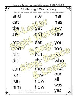 Sight Words Craft, Song, Printables for 3-Letter Sight Words