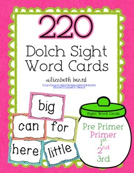 Sight Word Cards : 220 Pre-primer to 3rd Grade Dolch Sight Words