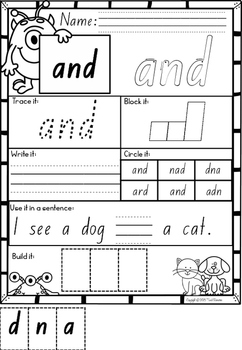 Pre Primer Sight Words Printables in NSW Foundation Font