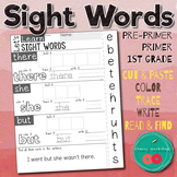 Sight Words Worksheet Cut and Paste