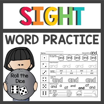 Sight Word Worksheets Roll and Write