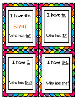 Sight Words-I have...Who has...?
