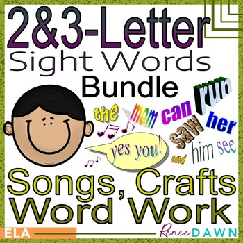Sight Words BUNDLE -  Sight Words Crafts, Word Work, MP3 Songs
