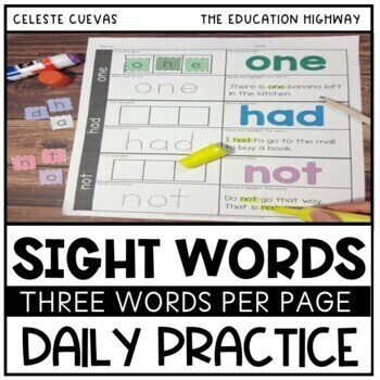 Sight Words | 3 Words a Day