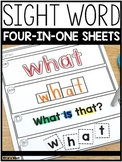 Sight Words 4-in-1 Sheets